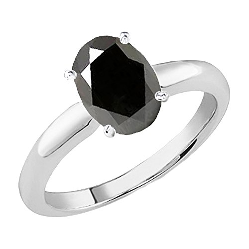 (Dazzlingrock Collection 14K White Gold 8X6 MM Oval Cut Black Sapphire Ladies Solitaire Bridal Engagement Ring (Size 7))