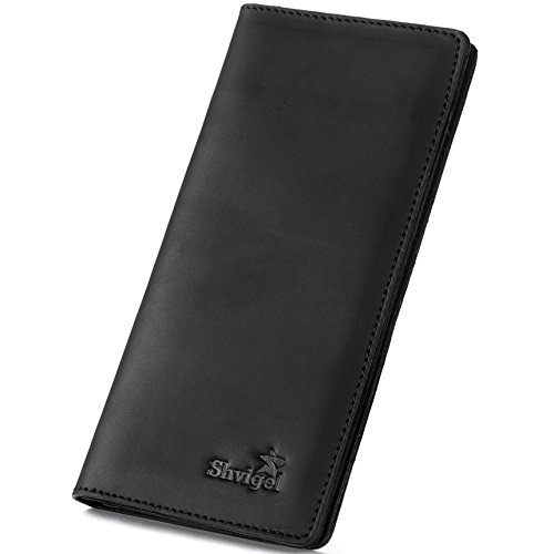 Check Leather Wallet (Shvigel Long Bifold Wallet for Men and Women - Soft Genuine Leather - Checkbook Holder Organizer - Large (Black Vintage))
