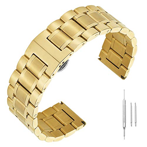 18mm Solid Stainless Steel Wrist Watch Band Strap Replacement Butterfly Deployment Clasp Metal Gold (Solid Band Wrist Watch)