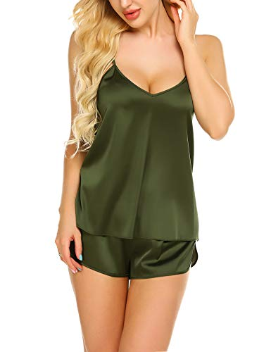 Ekouaer Sleepwear Womens Sexy Lingerie Satin Pajamas Cami Shorts Set Nightwear (Army Green, X-Large)