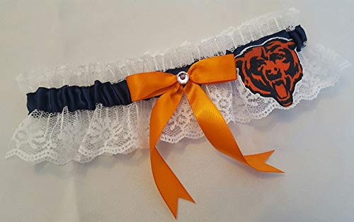 Handcrafted Navy Blue & Orange Satin & White Lace Football Wedding Garter Made Using Chicago Bears Fabric (Chicago Bears Wedding)
