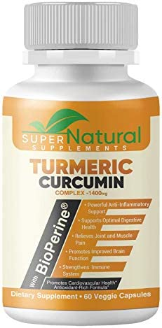 Super Natural Supplements, Turmeric Curcumin 1400mg, with Bioperine, Premium Pain Relief Joint Support with 95 Standardized Curcuminoids. Non-GMO, Gluten Free Turmeric Capsules with Black Pepper.