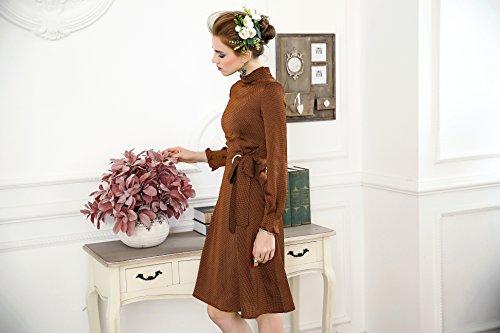 In Collare Nuovo Unita Cotiledone Per Tinta Manicotto Autunno Lungo In Modo Abito Sexy Primavera Piedi Rosso Alta 2018 La Del Abiti Collo Vestito Vita wvaqW0