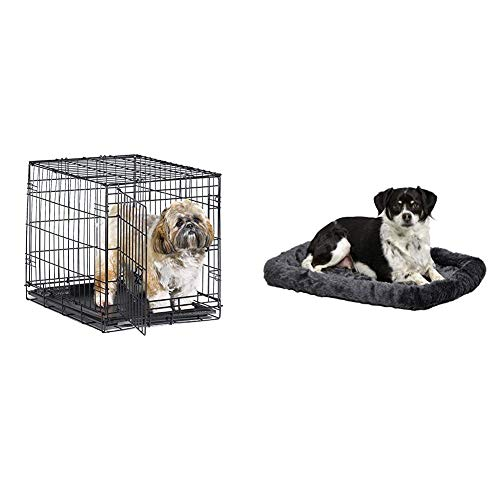 New World 24″ Folding Metal Dog Crate, for Small Dog Breed w/Matching New World Dog Crate Bed