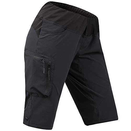 Cycorld Women's-Mountain-Bike-MTB-Short (Black, XL(Waist:36.5
