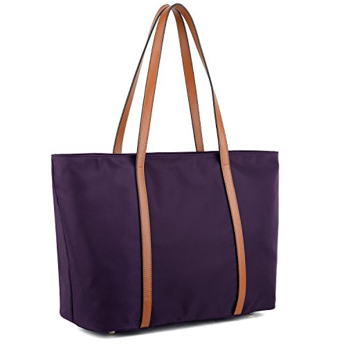YALUXE Tote for Women Leather Nylon Shoulder Bag Women's Oxford Nylon Large Capacity Work fit 15.6 inch Purple