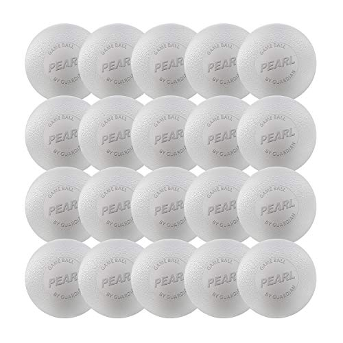 Guardian Innovations Pearl LT Lacrosse Balls (White & Yellow Meets NOCSAE Standards and SEI/NCAA/NFHS Certified) - Official Ball of US Lacrosse & Team USA (White, 20 Pack)