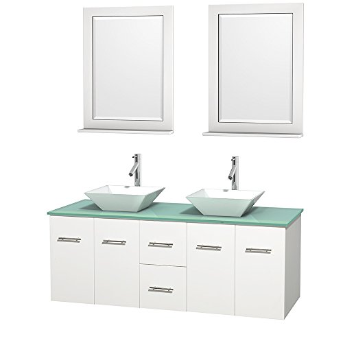UPC 799559213138, Wyndham Collection Centra 60 inch Double Bathroom Vanity in Matte White, Green Glass Countertop, Pyra White Porcelain Sinks, and 24 inch Mirrors