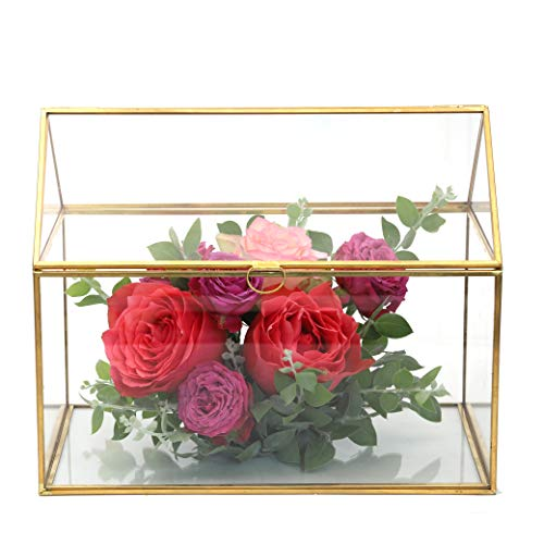NCYP Large inches Geometric Glass Decor Card Box Terrarium Centerpiece Tabletop Planter Handmade Copper House Shape Flower Pot for Plants Succulents (10.2'' X 8.3'' X 6.3'' ) by NCYP