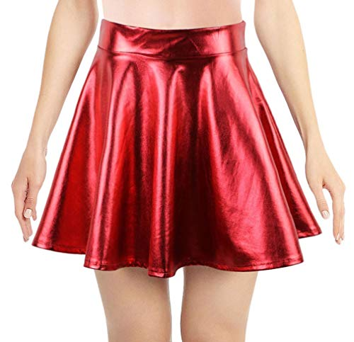 Simplicity Metallic Ballet Dance Flared Skater Skirt Dress New for 2017, Red