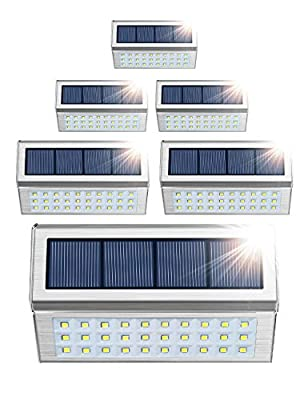ROSHWEY Solar Deck Lights Outdoor 30 LED Stainless Steel Step Lamps Waterproof Security Lights for Stairs Fence Pathway Wall (Pack of 6, Cool White Light)