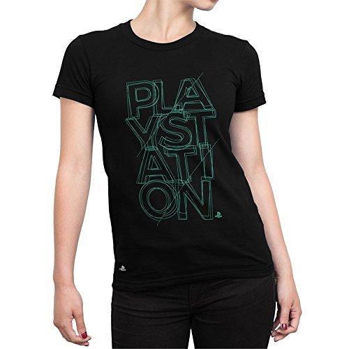 Camiseta Playstation Feminina Fractal - Preto - Gg