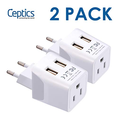European, Egypt Travel Adapter Plug by Ceptics with Dual USB - Type C - Europe - Usa Input - Light Weight - Perfect for Cell Phones, Chargers, Cameras and More - 2 Pack