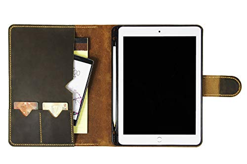 Handmade Vintage Leather Portfolio Case for iPad Pro 10.5, Business Padfolio Case iPad Stand Cover, with Apple Pencil Holder SZ06(iPad Pro 10.5)
