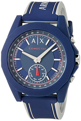 Armani Exchange Men's Hybrid Smartwatch, Blue Silicone, 44 mm, AXT1002 (Best Exchange Email App For Iphone)