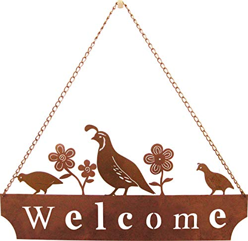 California Home and Garden CH304 Hanging Metal Quail Family Welcome Sign with Flowers, Rustic Look Artwork, 20 Inch Wide Brownish Red