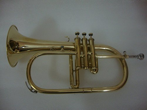Surbhi Music Golden Lacquer Flugel Horn Bb Flat With Free Case Box & Mouth Pc. by Surbhi Music