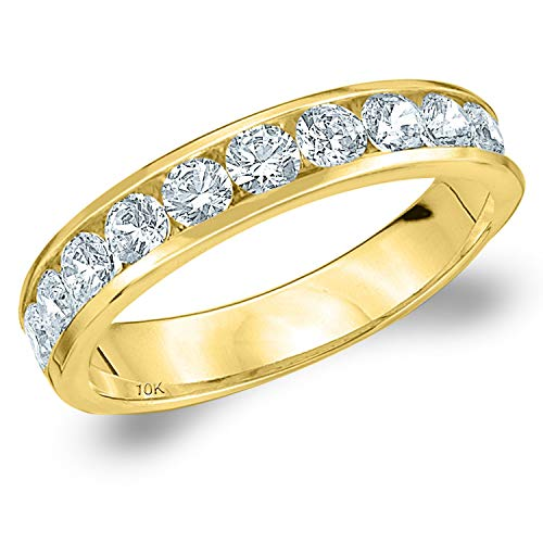 1CT Symphony Channel Set Diamond Wedding Ring in 10K Yellow Gold - Finger Size 8