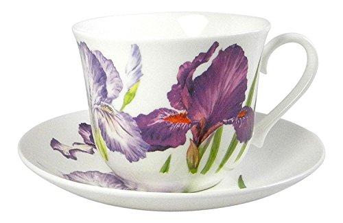 Roy Kirkham Iris Flower Breakfast Teacup and Saucer Set Fine Bone ()