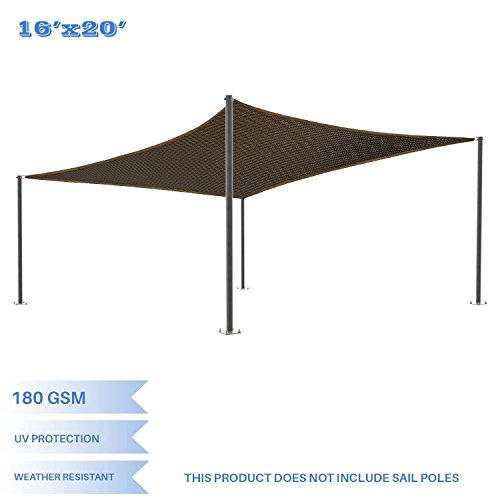 E&K Sunrise 16' x 20' Brown Sun Shade Sail Square Canopy - Permeable UV Block Fabric Durable Patio Outdoor Set of 1 (Kit Shade Pole)
