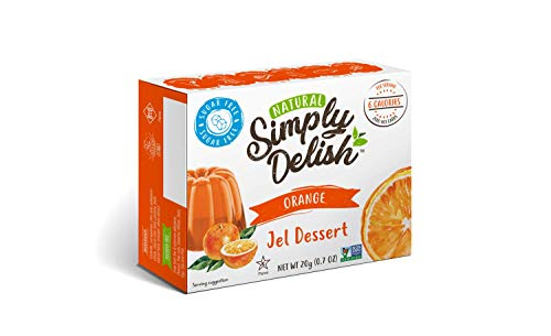 Simply Delish Natural Orange Jel Dessert - Sugar Free, Non GMO, Gluten Free, Fat Free, Lactose Free, 0.7 OZ (Pack of 6)