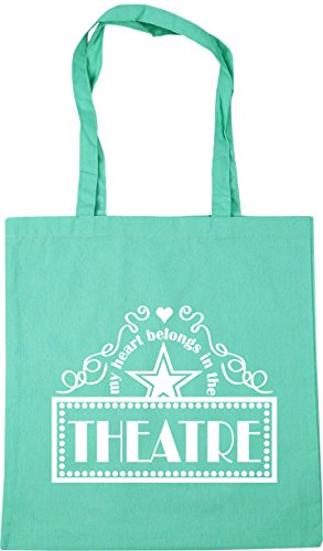 HippoWarehouse My Heart Belongs In the Theatre Tote Shopping Gym Beach Bag 42cm x38cm, 10 litres Mint