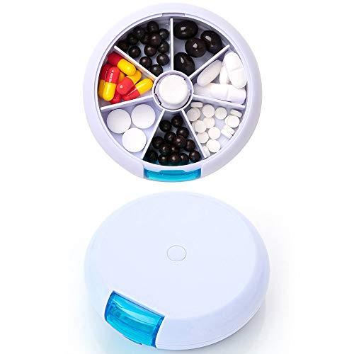 FaSoLa Portable Weekly 7 Days Pills Organizer Case Round Medicine for Travel Drug Holder (Circle Case Pill)