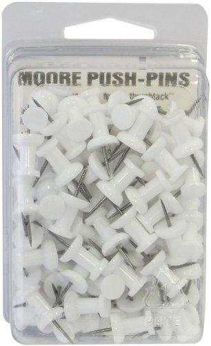 Moore Plastic Head Push Pin, White, 100 Per Box (2P-100-WE)