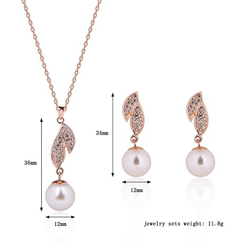 JUST N1 Rose Gold Pearl Jewelry Sets Fashion Pearl Necklace Earrings