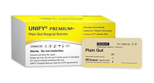 Unify Premium+ Surgical Plain Gut Sutures. #PMJ-318R19 Absorable. Mono Beige. Size 3/0. 18''/45cm Thread. 19mm 3/8 Circle R/C Needle (PS-2/C-6). 12 Foil Packs/Box.