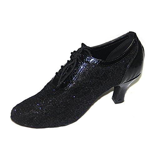 Tda Donna Tacco A Lacci Con Stringhe Allacciate Sintetiche Appliques Salsa Tango Samba Rumba Moderno Scarpe Da Ballo Latino Oro-tacco 6cm