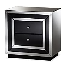 "Baxton Studio Carolina Hollywood Regency Glamour Style Mirrored 2-Drawer Nightstand, Black/""Silver"" Mirrored"
