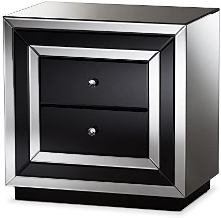 Baxton Studio Nightstands, 2-Drawer Nightstand, Black Silver Mirrored