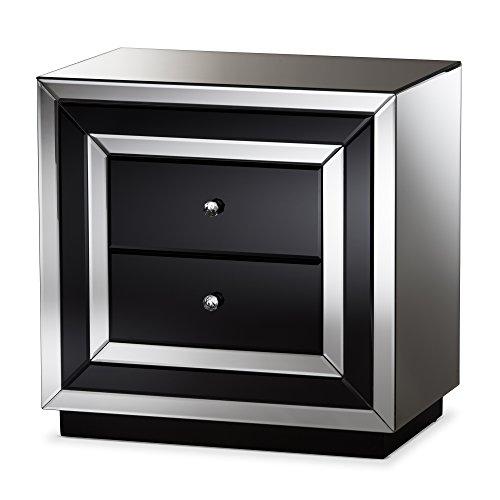 Baxton Studio Nightstands, 2-Drawer Nightstand, Black/Silver Mirrored (Glam Silver Mirrored Nightstand By Baxton Studio)