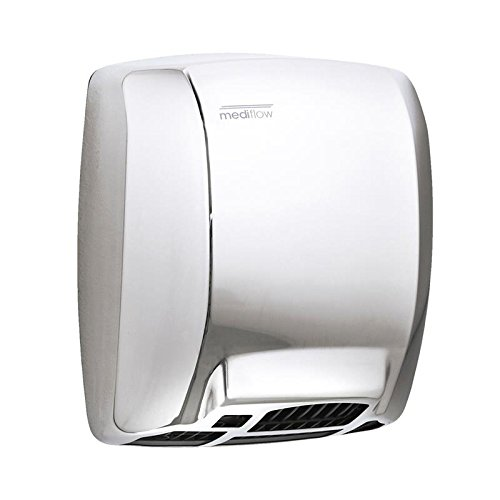 Saniflow M02AC Mediflow Automatic Hand Dryer with Thermostatic Control System, Stainless Steel AISI 304 One-piece Cover Bright Finish, Maximum Power and Airflow, Maximum Robustness and Vandal-proof