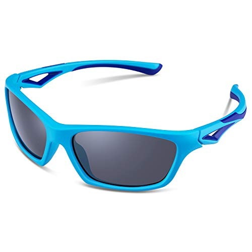 67ef9679677 TPEE Unbreakable Polarized Kids Sports Sunglasses with Adjustable Strap For  Boys Girls Age 3-10