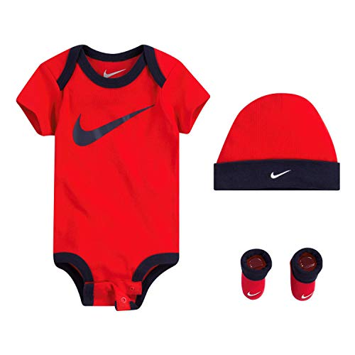 NIKE Children's Apparel Baby Hat, Bodysuit and Bootie Three Piece Set, Red Swoosh, 0/6M (Infant Boy Nike Clothing)