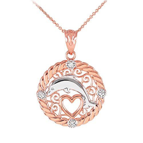 Collier Femme Pendentif 14 Ct Or Rose Côtelé Cercle Diamant Sauteur Dauphin Cœur Filigrane (Livré avec une 45cm Chaîne)