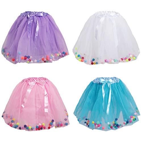 kilofly 4 pcs Girls Ballet Tutu Princess Party Puffy Ball Tulle Skirts Dress -
