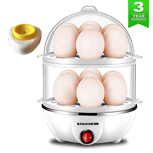 Egg Cooker,350W Electric Egg Maker,White Egg Steamer,Egg Boiler,14 Egg Capacity Egg Cooker With Automatic Shut Off,Egg cooker with Free Gift Egg Piercer