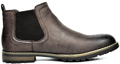 Bruno Marc Men's Philly-2 Dark Brown Leather Lined Chelsea Dress Ankle Boots – 13 M US