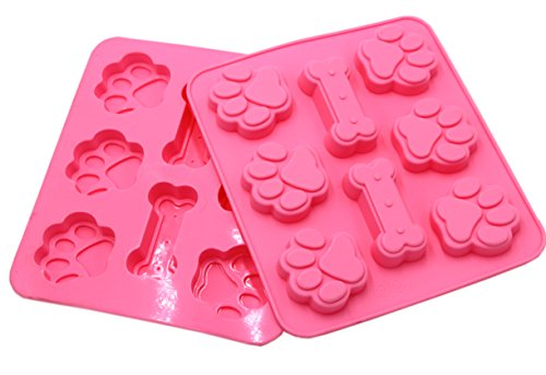 Set of 2 - Food Grade Adorable Puppy Paws & Bones Silicone Baking Molds - Large Mats Trays, Puppy Pets Dog Paws & Bones Silicone Baking Molds, Bake Dog Treats For Pets, Kids, Dog-lovers, Kitchen Tips ()