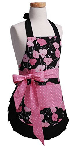 Flirty Aprons Midnight Bloom Girls Apron, Pink, Black and White ()
