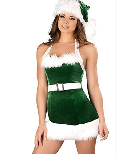 Women's Christmas Lingerie Sexy Santa Outfit Dress Velet Corset Costume (Green Style 1)