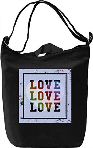 Love Love Love Borsa Giornaliera Canvas Canvas Day Bag| 100% Premium Cotton Canvas| DTG Printing|