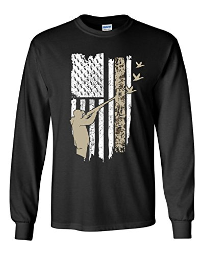 Long Sleeve Adult T-Shirt Hunting Flag Gun Rifle Hunt Duck American Flag USA DT (Large, Black)