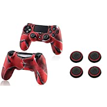 Insten [2 Pair / 4 Pcs] Silicone Analog Thumb Grip Stick Cover (Black/Red) + Pythons Protective Case for Sony Playstation 4 Ps4 Controller (Camouflage Color)