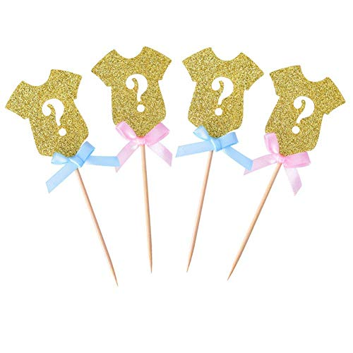 Cake Decorating Supplies - Golden Glitter Gender Reveal Cupcake Pers Baby Shower Party 24 Pack - Edible Year Large Squeeze Weddings Cream Baby Smoother Printer Round Supplies 60pcs Candy Fl]()