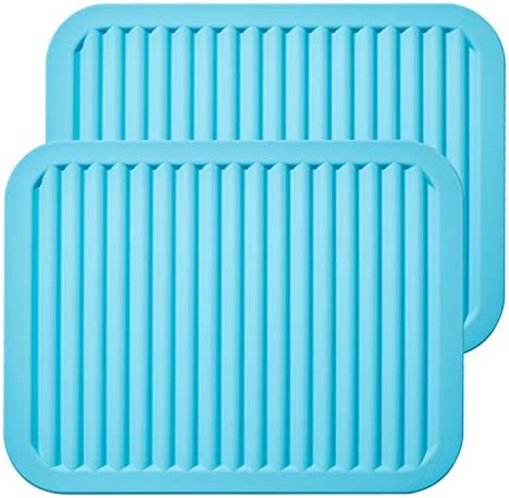 ME.FAN Silicone Trivets – 9″ x 12″ Silicone Potholder [2 Set ] Silicone Pot Holders – Spoon Rest – Kitchen Table Mat – Hot Pads – Large Coasters (Blue)