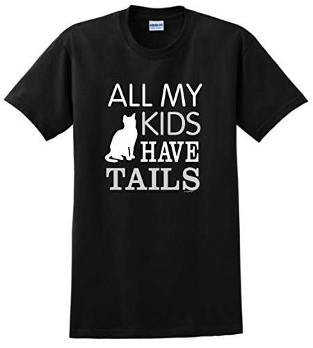 Gifts for Cats Cat Gifts Cat Lovers Gifts All My Kids Have Tails Funny Cat T-Shirt Small Black